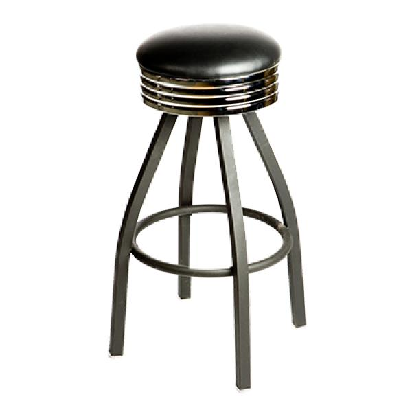 Oak Street Sl2137 Blk Swivel Bar Stool Backless Retro Upholstered Seat With Ribbed Chrome Band