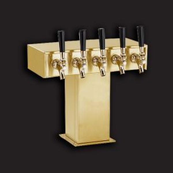 Tee Tower Style Beer Dispensing Kit - (5) Faucets, Tarnish Free Brass (dispensing head, drainer