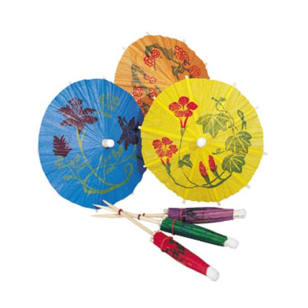 "Fancy Parasol Picks, 3-1/4"" dia., multi-color designs printed on assorted color paper"