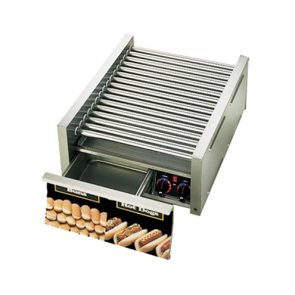 Grill-Max Hot Dog Grill, roller-type with integrated bun drawer, stadium seating