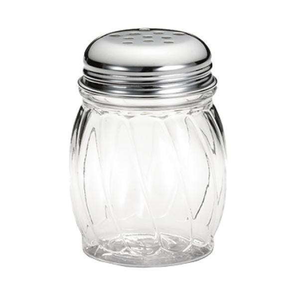 Shaker, 6 oz., swirl, chrome plated perforated top