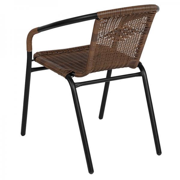 Medium Brown Rattan Indoor Outdoor Restaurant Stack Chair