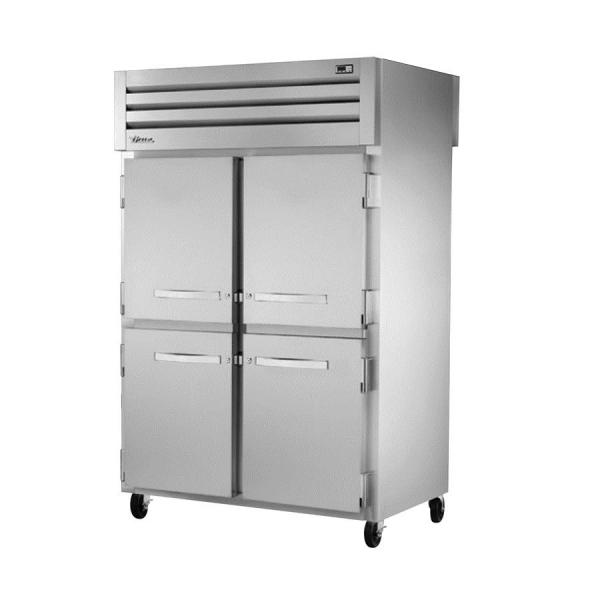 True Refrigeration STG2RPT2S2GHC Spec Series Pass-Thru Refrigerator - Two Section Stainless Doors & Rear Glass Doors