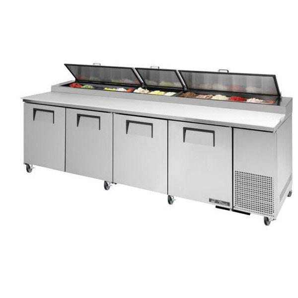"True Refrigeration  120"" Pizza Prep Table - Four Stainless Doors"