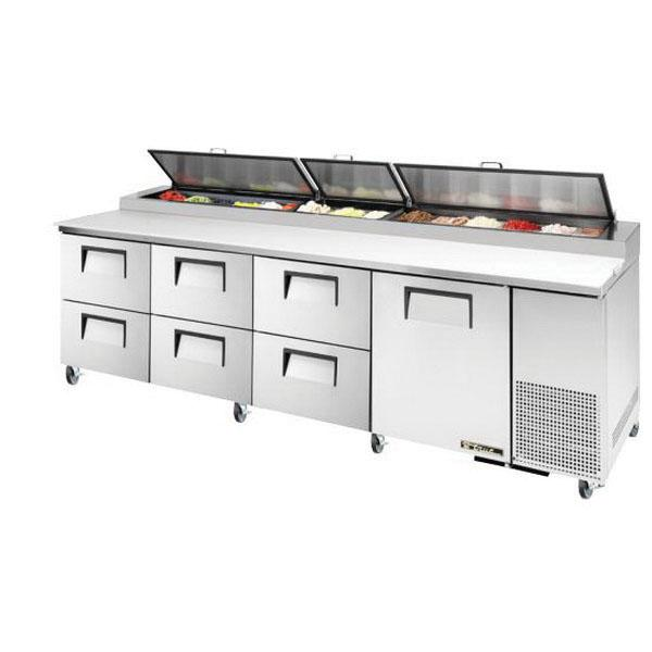 "True Refrigeration  120"" Pizza Prep Table - One Stainless Door & Six Drawers"
