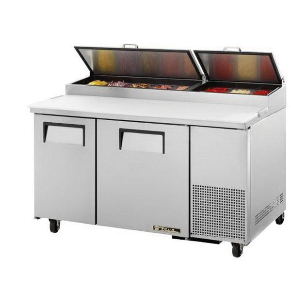 "True Refrigeration  61"" Pizza Prep Table - Two Stainless Doors"