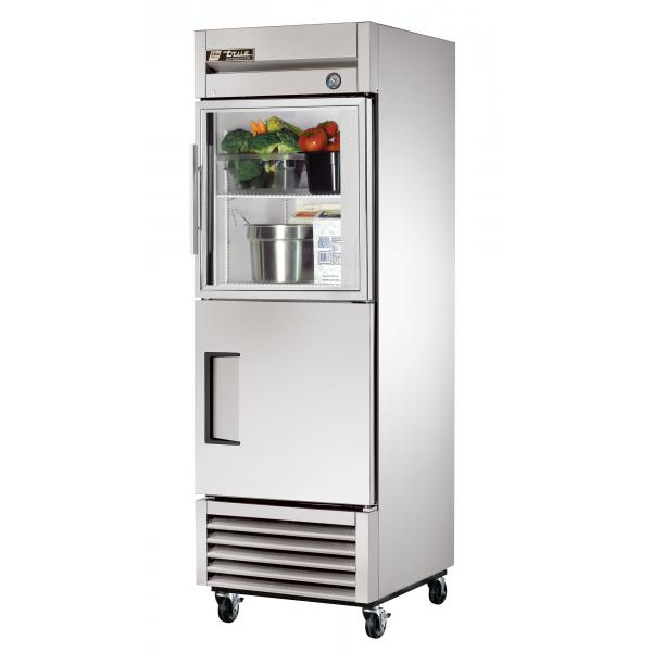 "True Refrigeration  27"" Bottom Mount Reach-In Refrigerator - 23 Cu. Ft. - Stainless/Glass Half-Doors"