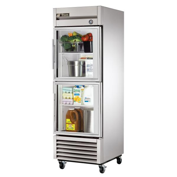 "True Refrigeration  27"" Bottom Mount Reach-In Refrigerator - 23 Cu. Ft. - Glass Half-Doors"