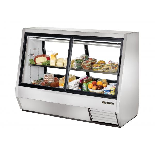 "True Refrigeration  73"" Double Duty Pass-Thru Refrigerated Deli Case - Four Slide Doors"