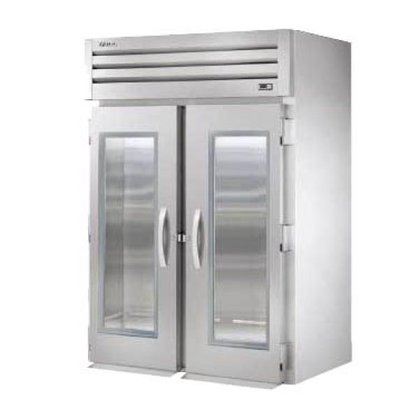 True Refrigeration STG2RRI2G Spec Series Roll-In Refrigerator - Two Section Glass Doors