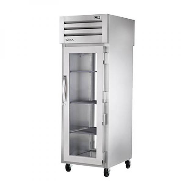 True Refrigeration STR1RPT1G1GHC Spec Series Pass-Thru Refrigerator - One Section Front & Rear Glass Doors - R290