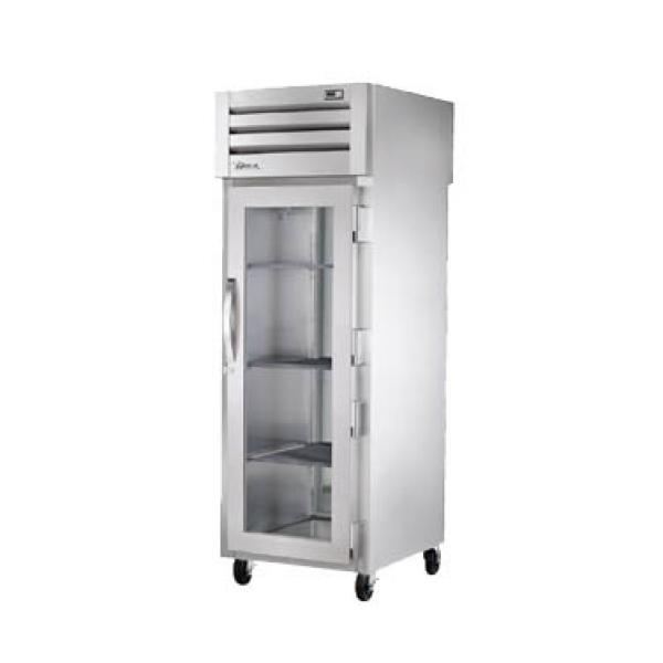 True Refrigeration STR1RPTVLD1G1S Spec Series Pass-Thru Refrigerator - One Section Glass Door & Rear Stainless Door