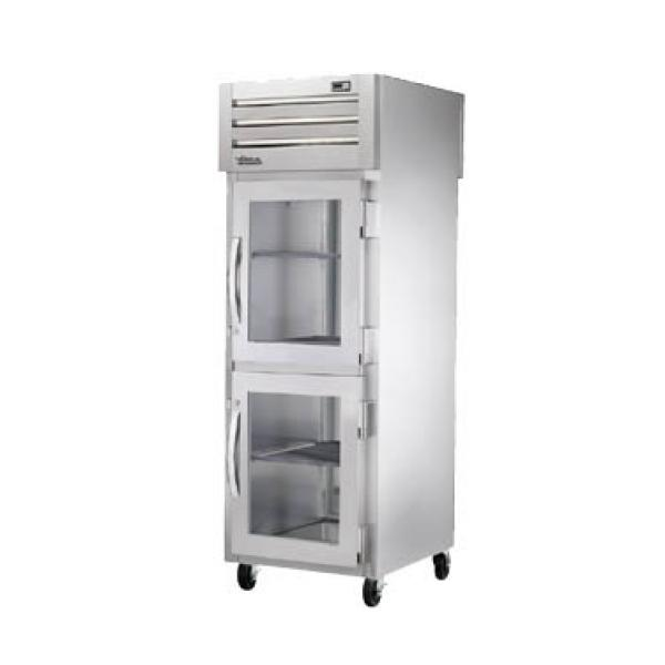 True Refrigeration STA1RPTVLD2HG1S Spec Series Pass-Thru Refrigerator - One Section Glass Half-Door & Rear Stainless Door