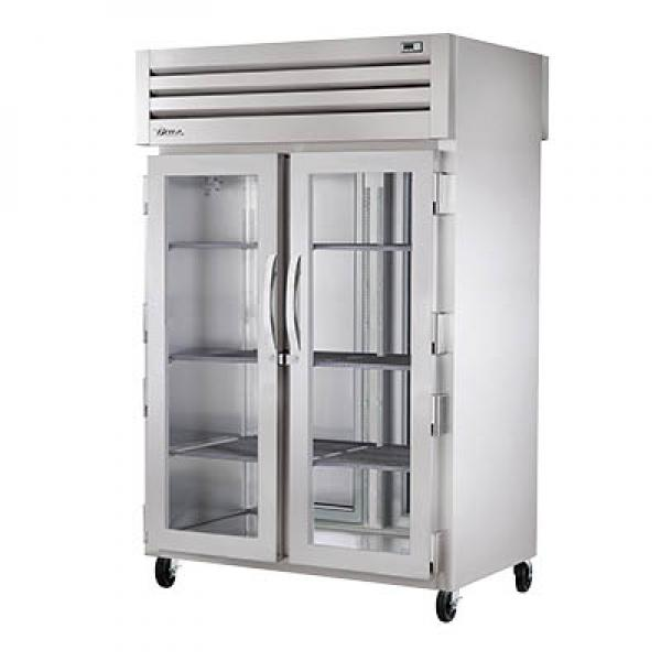 True Refrigeration STR2HPT2G2S Spec Series Pass-Thru Heated Cabinet - Two Section Glass Doors & Rear Stainless Doors