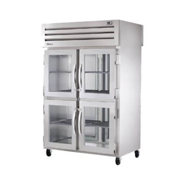 True Refrigeration STA2RPTVLD4HG2S Spec Series Pass-Thru Refrigerator - Two Section Glass Half-Doors & Rear Stainless Doors