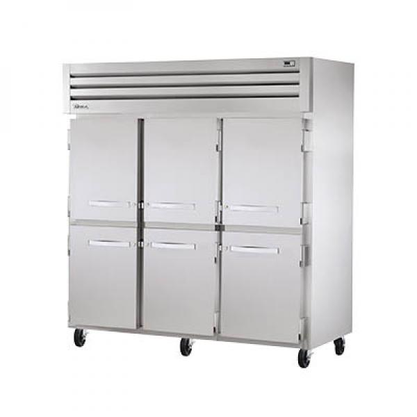 True Refrigeration STR3R6HS Spec Series Reach-In Refrigerator - Three Section Stainless Half-Doors