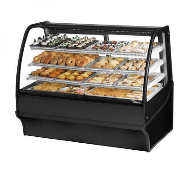 "True Refrigeration TDMDC59GEGEBW 60"" Black Dry Display Merchandiser - White Interior"