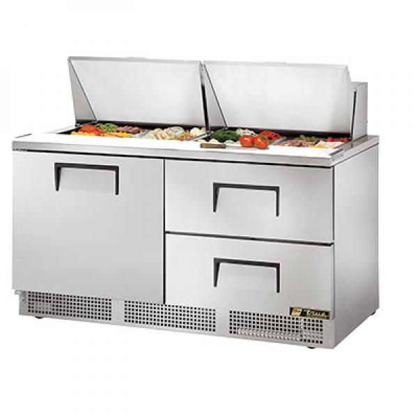"True Refrigeration TFP6424MD2 65"" 24-Pan Sandwich Salad Prep Unit - Stainless Doors & Two Drawers"