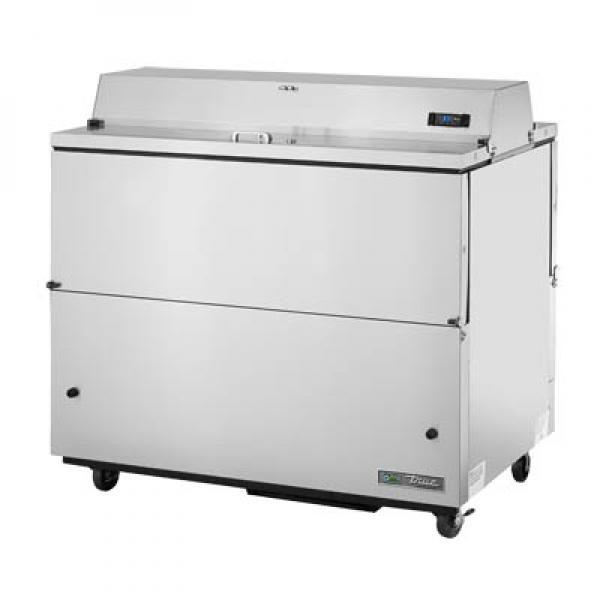 "True Refrigeration TMC49SDSSSHC 49"" Stainless Forced Air Milk Cooler - Dual Sided w/ Stainless Interior"