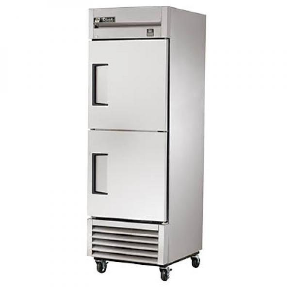 "True Refrigeration TS232HC 27"" All Stainless Bottom Mount Reach-In Refrigerator - 23 Cu. Ft. - Stainless Half-Doors"