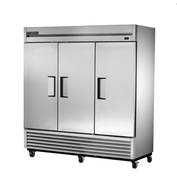 "True Refrigeration TS72HC 79"" All Stainless Bottom Mount Reach-In Refrigerator - 72 Cu. Ft. - Three Stainless Doors"