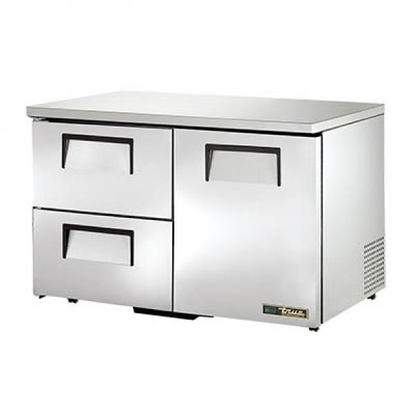 "True Refrigeration TUC48D2LPHC 49"" Undercounter Refrigerator - One Stainless Door & Two Drawers - Low Profile"