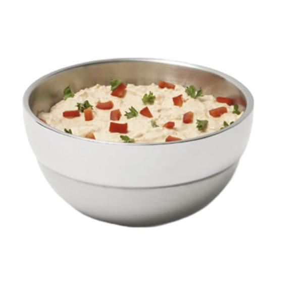 Double Wall Round Bowl, .75 quart, stainless steel, combination mirror/satin finish