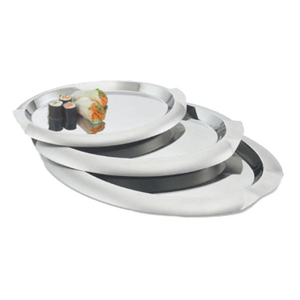 Serving Tray, large oval with integral handles, stainless steel