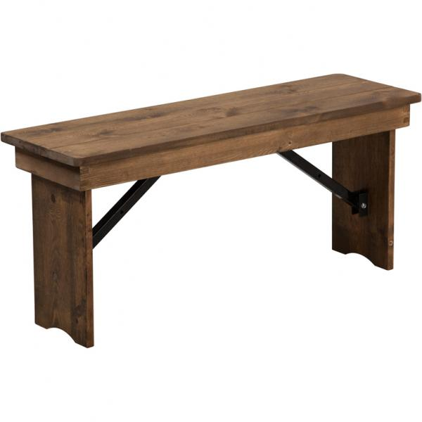 "Flash XAB40X12GG 40"" x 12"" Antique Rustic Solid Pine Folding Farm Bench , Antique Rustic"