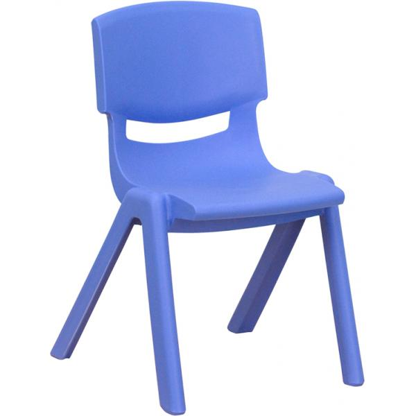 "Flash YUYCX001BLUEGG Blue Plastic Stackable School Chair w/ 12"" Seat Height , Blue"