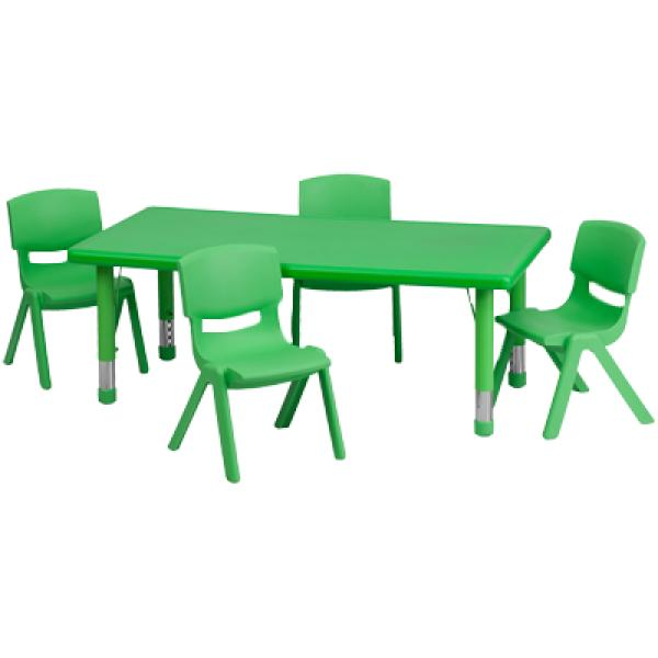 "Flash YUYCX00132RECTTBLGREENRGG 24""W x 48""L Rectangular Green Plastic Height Adjustable Activity Table Set w/ 4 Chairs , Green"