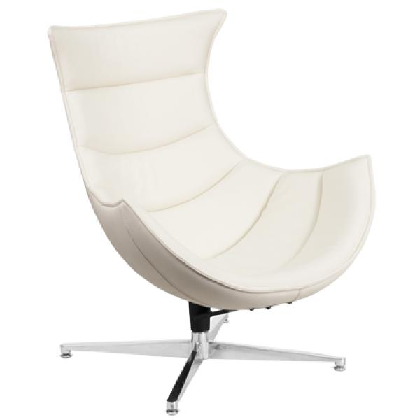 Melrose White Leather Swivel Cocoon Chair Restaurant Equipment Solutions